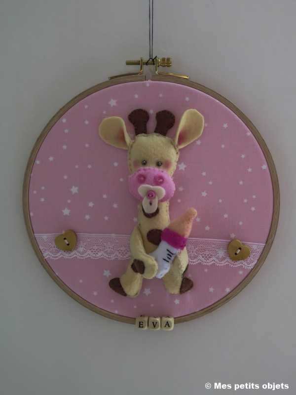 """Cercle décoratif """"Eva"""" pour porte de chambre enfant d=20 cms"""